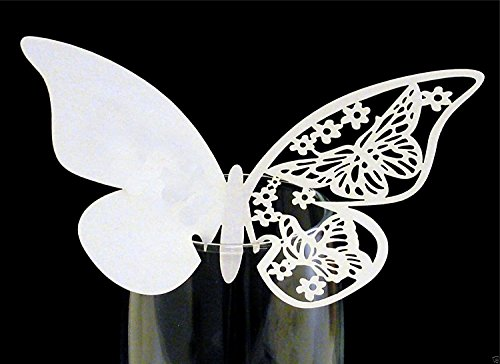 Demarkt 50x Mariposas Espacio Tarjetas Tarjetas de Mesa Tarjetas de Nombre Cristal Colgante para Mesa Decoración Boda Fiesta Casa Decorativo, 80x 100mm Blanco