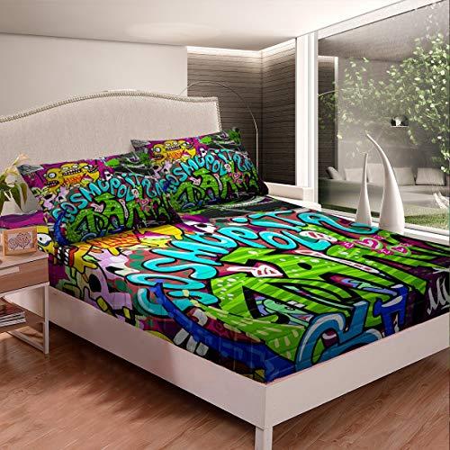 Loussiesd Hippie Graffiti Bed Sheet Set Boys Youth Hip Hop Fitted Sheet Kids Teens Street Culture Bedding Set Wall Graffiti Art Bed Cover,Room Decor 2Pcs Sheets Single Size