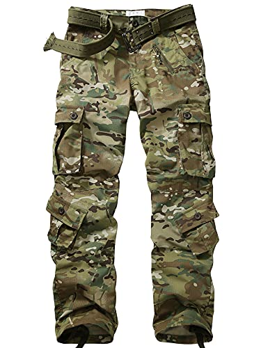 GSGGIG Men's Outdoor Hiking Pants, Tactical Pants Lightweight Casual Work Ripstop Cargo Pants for Men with Pockets 3355-CP CAMO-38