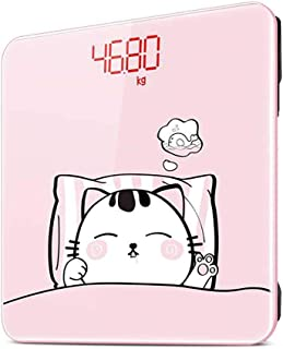 YQSHYP Weight Scale, LCD backlit Display, Slim Digital Body Weight Bathroom Scales with High Precision Sensors,Instant Precise Reading with Step-On Feature,Slim Design-Pink