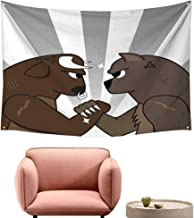 Agoza Big Tapestry Cartoon Bull Bear Preparing to Fight Striped Background Wild Competition Wall Hanging Carpet Throw 63
