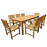 vidaXL 9-TLG. Gartenmöbel Set Sitzgruppe Essgruppe Massives Akazienholz Braun