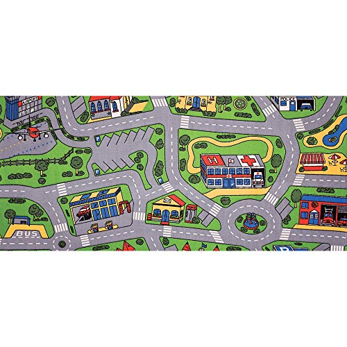 "Learning Carpets-LC206-2020 City Life Road Carpet, 79""x36"", Indoor/Outdoor Play Equipment for Kids/Baby, Preschool/Homeschool/Daycare Furniture & Playroom Rug"