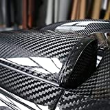 RockRose 5D Black High Gloss Carbon Fiber Vinyl Wrap, Anti-Wrinkle Air Release Automotive Bubble wrap, Self Adhesive Car Vinyl Sticker DIY Decals (12' X 60')
