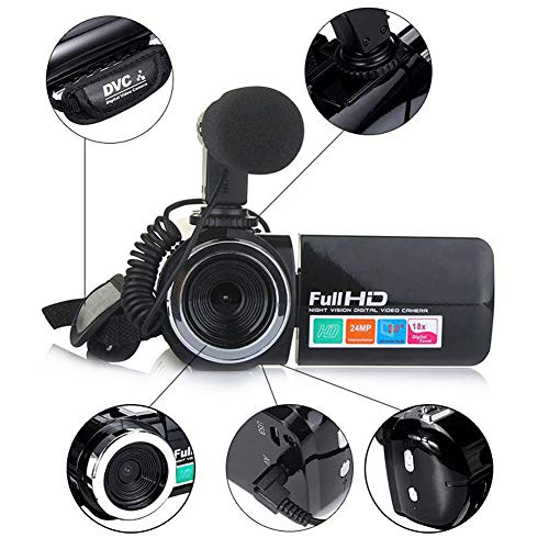 QK Fotocamera Digitale 18X Zoom HD 1080P videocamera Portatile IR Video Camcorder 24MP 3 Pollici Schermo