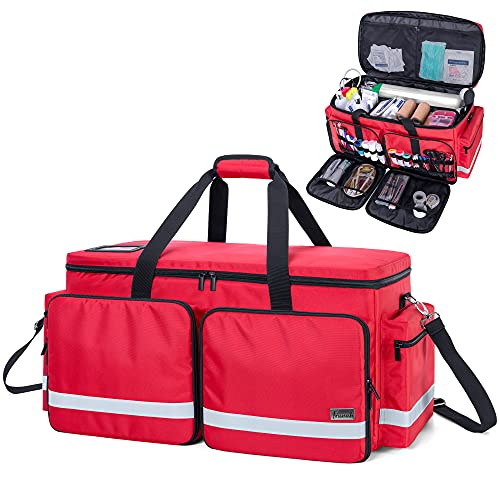 Trunab Emergency Medical Duffel Bag Empty with Compartment for Oxygen Tank(M2-M22), First Responder Trauma Bag with Reinforce Bottom Board for Sport Team, Community Volunteer, Red- Patented Design
