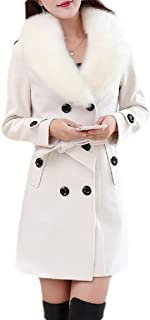 Macondoo Womens Faux Fur Collar Overcoat Double Breasted Woolen Pea Coat Jacket