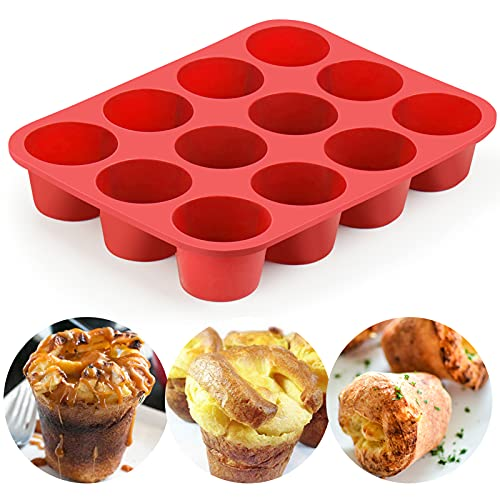 12-Cup Silicone Popover Pans, Professional Popover Pan for Popovers, Non-Stick Popover Pans for Muffins, Brownies and Baking