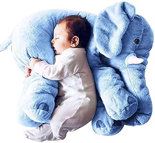 qaz Tamaño Grande60cm Bebé Elefante Bebé Juguete Playmate Calm Doll Baby Toys Elefante Almohada Peluches Peluche Muñeca,Blue
