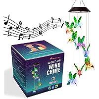 Dekopia 8-Hummingbird Color Changing Light Sensor Solar Wind Chimes