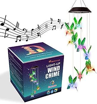 8-Hummingbird Color Changing Light Sensor Solar Wind Chimes