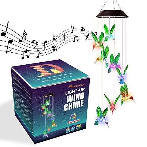 Dekopia Solar Wind Chimes 8 Hummingbird Outdoor Decor Color Changing Light Sensor Solar Power eco Friendly Easy to use Waterproof Design Christmas Ornaments Night Party Garden Decor