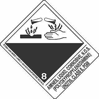 GC Labels-L303P3366, Amines, Liquid, Corrosive, N.O.S. (Polyoxypropylenediamine) UN2735, Class 8, PGIII, Roll of 500 Labels