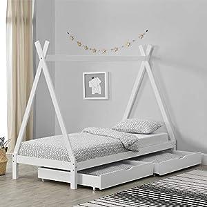 Cama para Niños de Madera Pino 90 x 200 cm con 2 Cajones para Almacenar en Diseño de Carpa Indio Cama Infantil Estructura Tipi Color Blanco