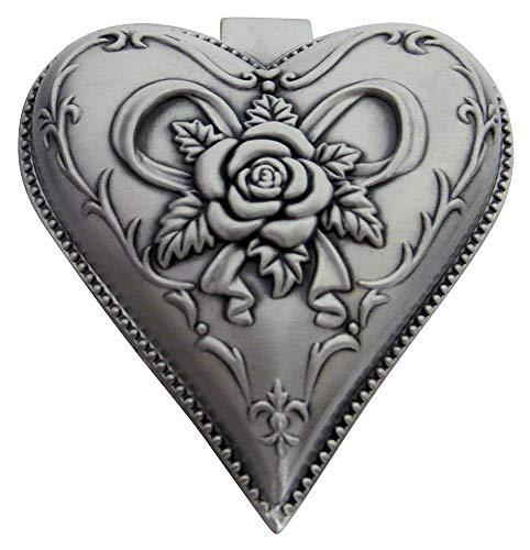 Happy Homewares Joyero de Corazón Plateado de Estaño de Metal Ligero con Decoración de Rosa