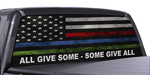FGD Brand Truck Rear Window Wrap Police Fire & Military American Flag Perforated Vinyl Decal