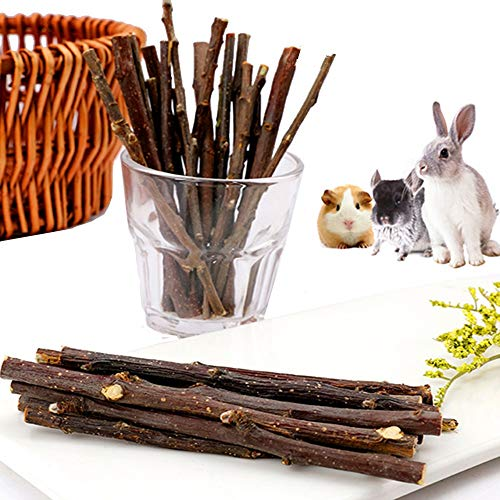 Dbeans Flourithing 100g Guinea Pigs Toys, Rabbit Stick Toys, Organic Apple Stick, for Molar and to Help Healthy Teeth and Good Digestion, for Chinchilla Squirrel Hamster Bunny Etc Small Animals