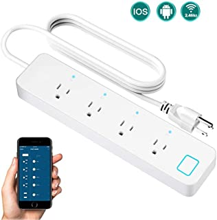 SIPAILING Smart Power Strip WiFi Surge Protector Voice Individual Control with Alexa Google Home, 4 AC Outlets 1.5 Meter Extension Cord, Switch Timer, Remote Control via Smart Phone APP