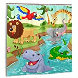 Cortina de baño para decoración de baño Juego de cortinas, Safari de dibujos animados Animales africanos que nadan en el lago Elefante Leones y jirafas Arte Tela Cortinas de baño con ganchos 60x72in