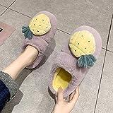 Perferct Zapatillas De Casa Mujer Cerradas,Hombre Y Femenino OtoñO Invierno Inicio Indoor Anti-Skid Bolsa De CáLido De Extremo Grueso con Zapatillas De AlgodóN-36-37_j