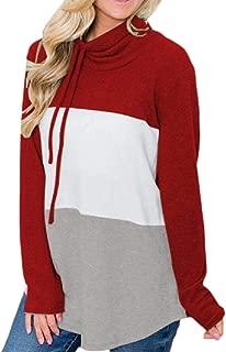 Womens Cowl Neck Sweatshirts Striped Casual Long Tunic Tops