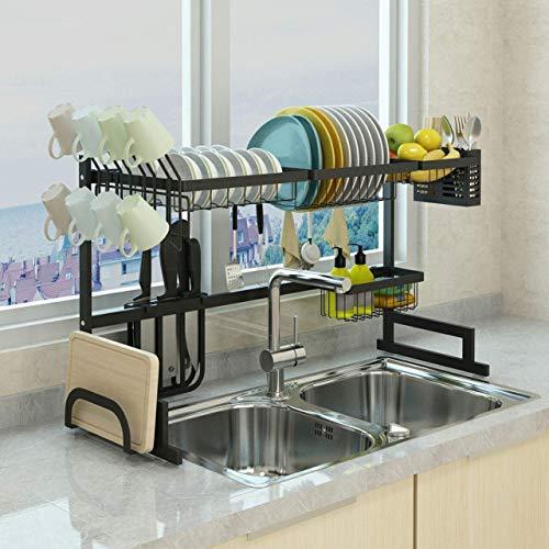 Xue-shelf 65 Black Dish Drainer Holder Stainless Steel Kitchen Rack