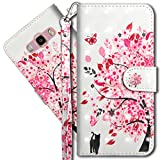 COTDINFORCA J2 Prime Wallet Case, Galaxy Grand Prime Premium PU Leather Case, 3D Creative Painted Effect Design Full-Body Protective Cover for Samsung Galaxy J2 Prime G532. PU- Tree Cat