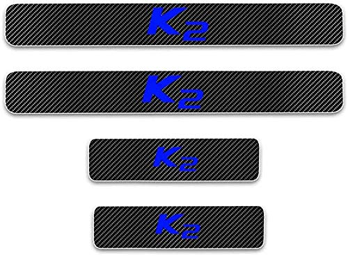 AILING Carbon Fiber Protector External Door Sills Welcome Pedal Kick Plates For Kia K2 All Models,Anti-Wear Non-Slip Styling Car Accessories Foot Tread Stickers Strips