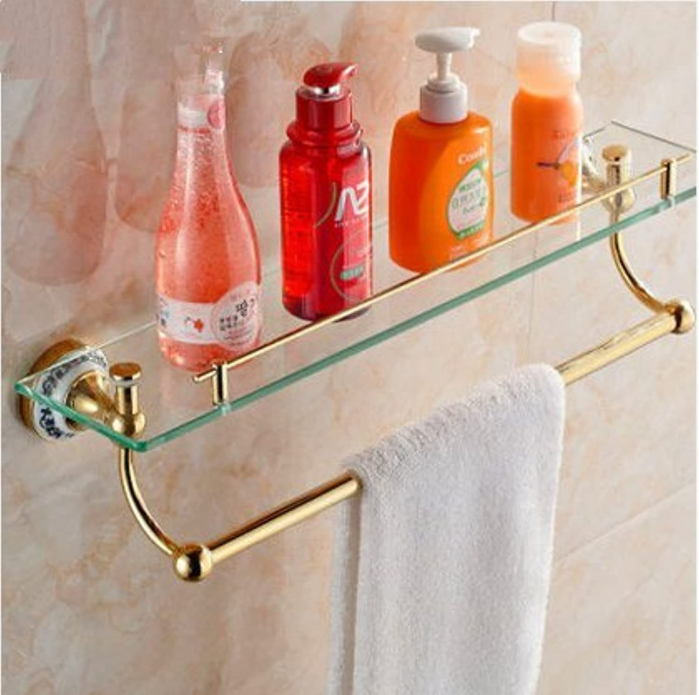 European gold bathroom single-layer glass shelf-@wei
