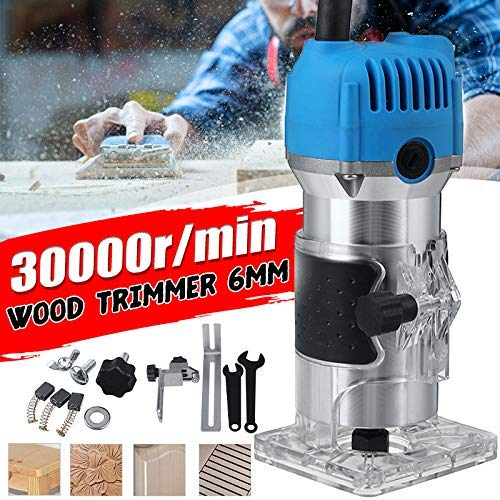 "Wood Routers ,Router Tool Compact Wood Palm Router Tool Hand Trimmer WoodWorking Joiner Cutting Palmming Tool 30000RPM 1/4"" Collets 800W 110V -Blue Wood Router"