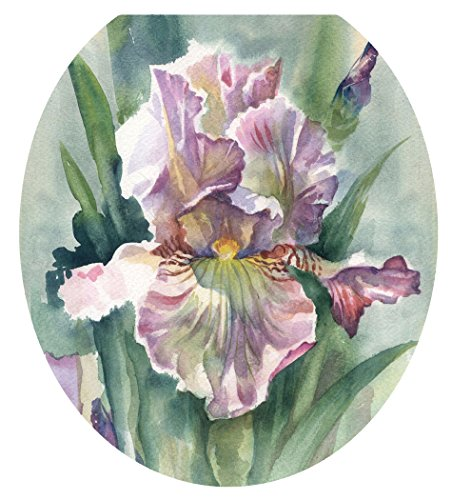Toilet Tattoos, Toilet Seat Cover Decal, Watercolor Iris, Size Round/standard