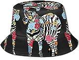 Pintado a Mano Abstracto Zebra Animales Parte Superior Plana sin Costuras Sombrero de Pescador Unisex Gorras al Aire Libre para Viajes Playa Protección Solar Gorra de Pescador Sombrero de Cubo de PIZ