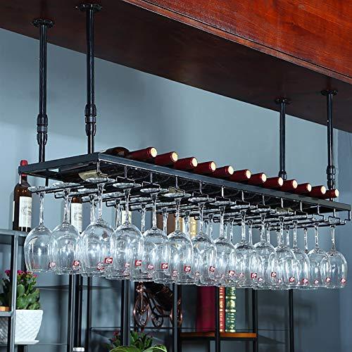 Estantes colgantes para copas de vino Estante de vino de metal vintage industrial, colgantes de vino bastidores de vino titular de talleres, estantería de decoración de altura ajustable, para bares Re