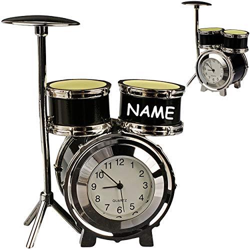 alles-meine.de GmbH kleine - Tischuhr / Miniatur - Uhr - Schlagzeug - Drums / Drum Set - inkl. Name - aus Metall - 8,3 cm - batteriebetrieben - Analog - Batterie - schwarz - silb..
