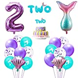 GROBRO7 21Pcs Mermaid Theme 2 Years Old Birthday Party Decoration Mermaid Tail Shaped Balloon Pink & Purple Seashell Balloons 12 Inch Sequined Latex Balloons Banner Cake Topper Party Supplies for Girl