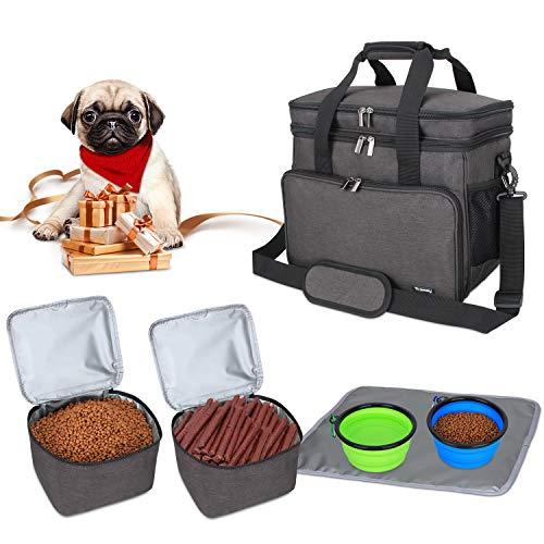 Teamoy Reisetasche für Hundeausrüstung, Hundetasche für die Mitnahme von Tiernahrung, Leckereien, Spielzeug und andere wichtige Dinge, ideal für Reisen, Camping oder Tagesausflüge (Klein schwarz)