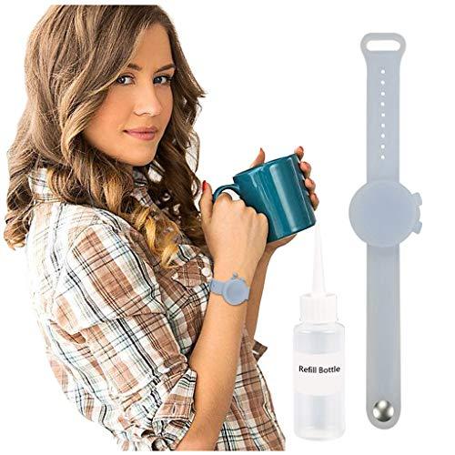 Rameng Bracelet De Savon en Silicone Portatif Bracelet De Distributeur De Main De Bande Squeeze Bottle, Distributeur De Main en Silicone Souple, Distributeur De Gel De Lavage De Main Liquide