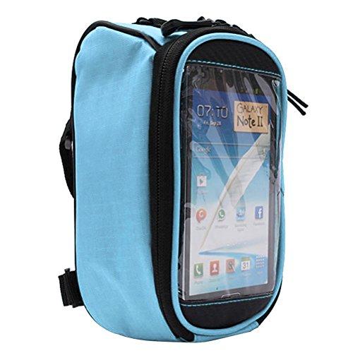 WINOMO étanche sacoche pour cadre de vélo Bike Top Tube Bag avec écran tactile à haute sensibilité multifonction Sac de smartphone jusqu'à 14 cm (Bleu)