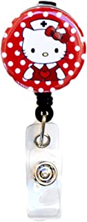 SIZZLE CITY New Custom Hello Kitty Nurse / RN / CNA / LVN / Nursing Student Badge Reel Retractable ID Badge Holder (Red)
