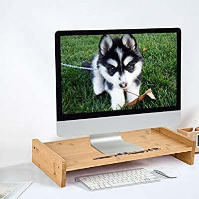 US in Stock Bamboo Wood Monitor Stand Computer ...