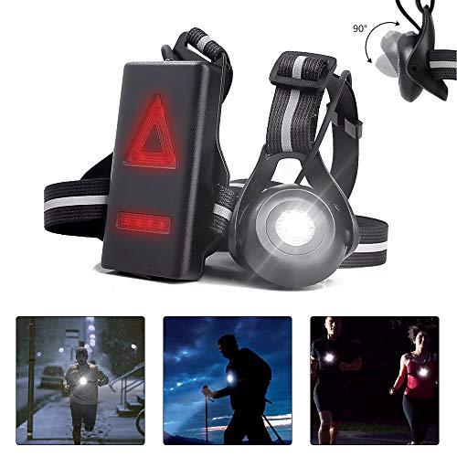 welltop Wiederaufladbare Lauflampe, Sports Lauflicht 90 ° verstellbar LED USB Running Light mit 2 Beleuchtungsmodi für Läufer Jogger Sport im Freien Gehen Angeln Camping Wandern Klettern