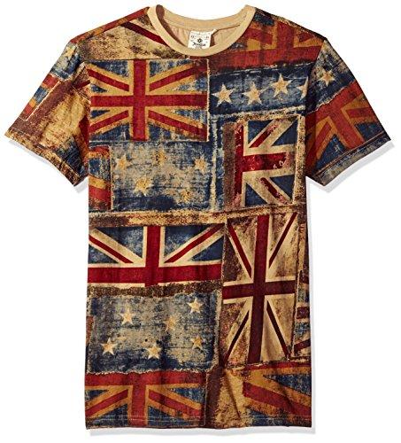 Akademiks Men's Uk Flag Vintage T-Shirt, Blue, X-Large