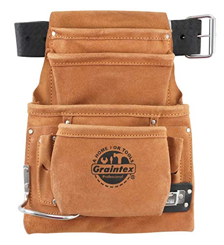 Graintex PL45S 10-Pocket Nail and Tool Pouch with Embossed Leather Belt
