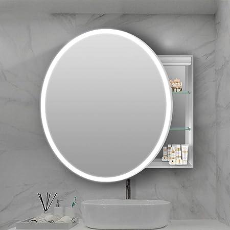 "Round Left Pull Mirror Cabinet, 23.6""/27.6"" LED Dimming Defogging Mirror Medicine Cabinet, Bathroom Wall-Mounted Storage Cabinet/Reception Mirror Cabinet"