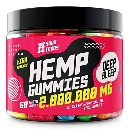 Hemp Gummies for Pain, Anxiety, Sleep, Stress Relief - Premium Hemp Extract - Candy Gummy Bears with Hemp Oil - Rich in Vitamins B, E & Omega 3, 6, 9