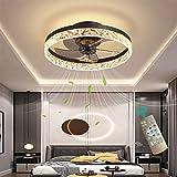 YAOXI Reversible Led Ventilador de Techo con Luz y Mando Silencioso 6 Velocidades Dormitorio Ventilador con Luz de Techo Moderno Regulable Sala 50cm Ventilador de Techo con Temporizador,Negro