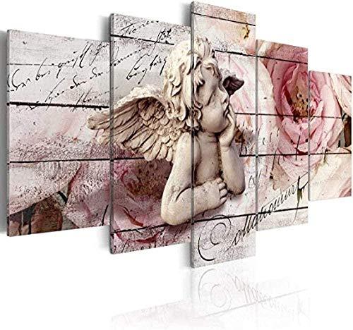 bnkrtopsu 5 Quadri su Tela Quadri Stampe Stampate su 5 Tele Soggiorno Camera da Letto murali Decorativi creativi e Poster Angelo Vintage