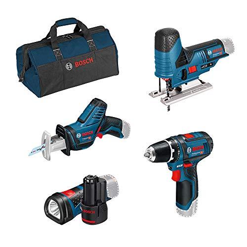 Bosch Professional 12V atornillador bat. GSR 12V-15+sierra sable GSA 12V-14 + sierra de calar GST 12V-70 + linterna LED GLI 12V-80 (2 bat. 2.0 Ah, bolsa)