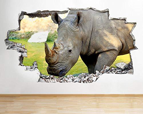 Wandaufkleber R522 Rhino Animal Cool Living Hall Smashed Wall Decal 3D Art Stickers Vinyl Room