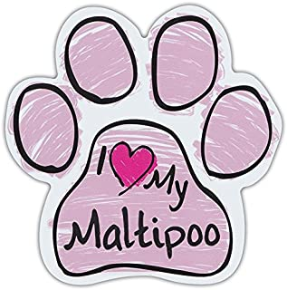 Pink Scribble Paws: I LOVE MY MALTIPOO (MALTESE POODLE) | Dog Paw Car Magnets